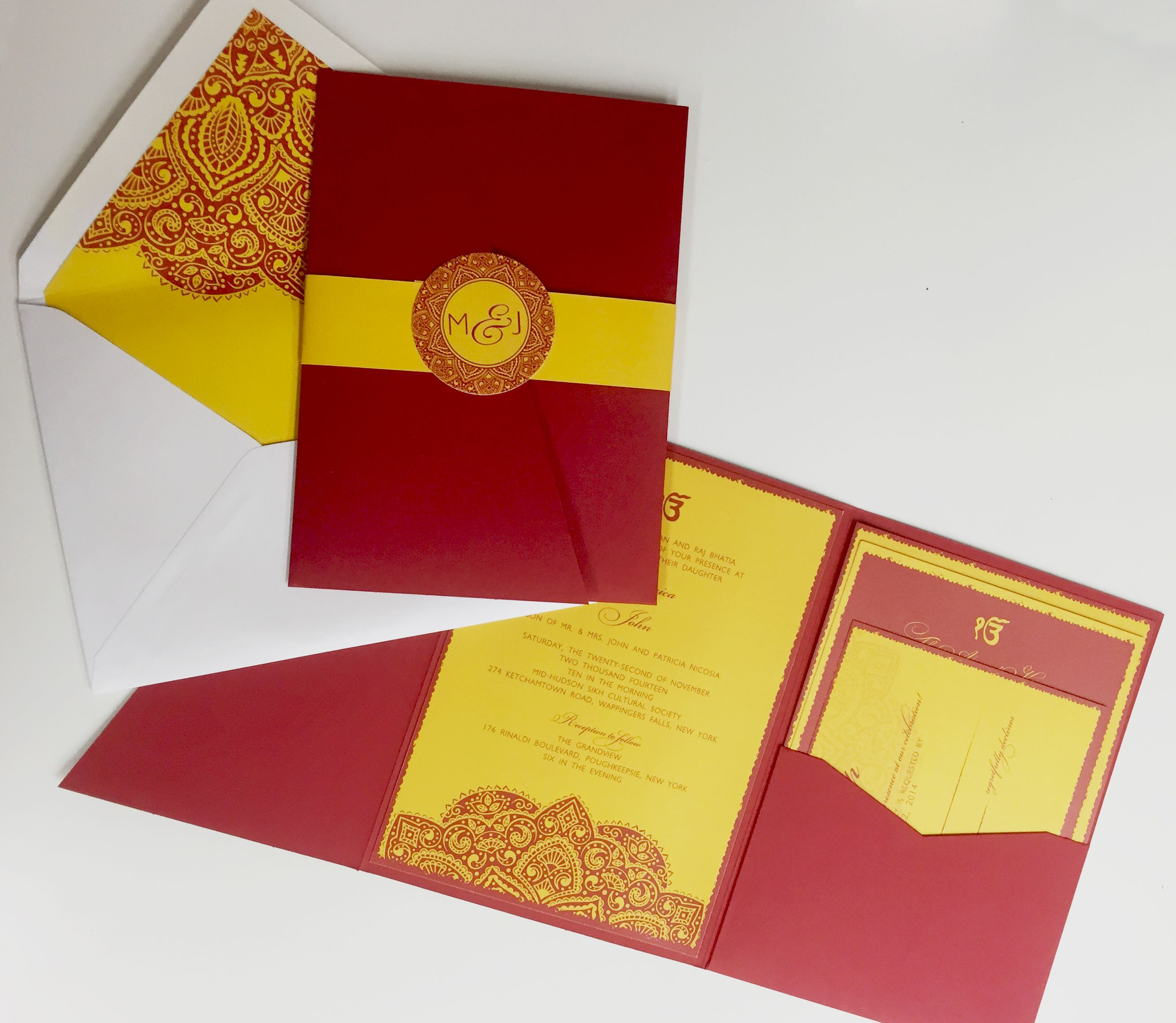 Traditional Indian Wedding Invitation. Red and Yellow. Pocket ...