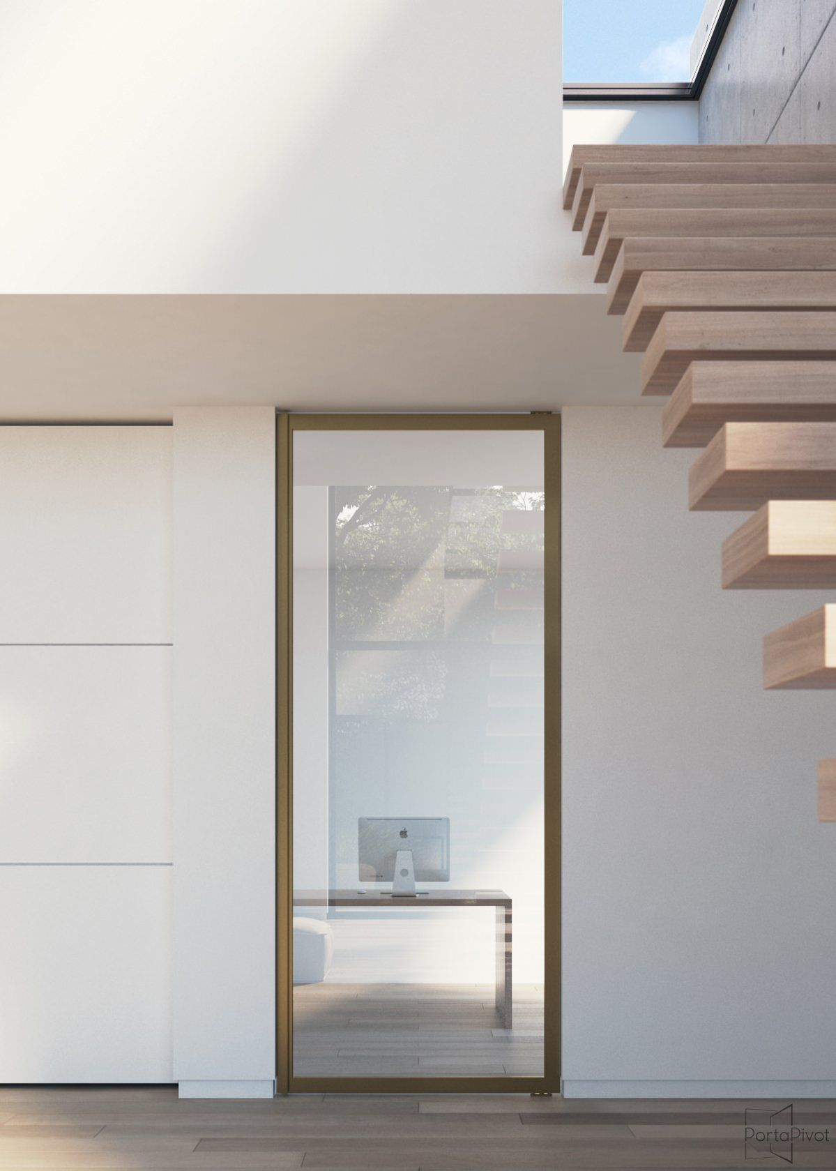 Glass pivot door with a bronze anodized aluminium frame and ...