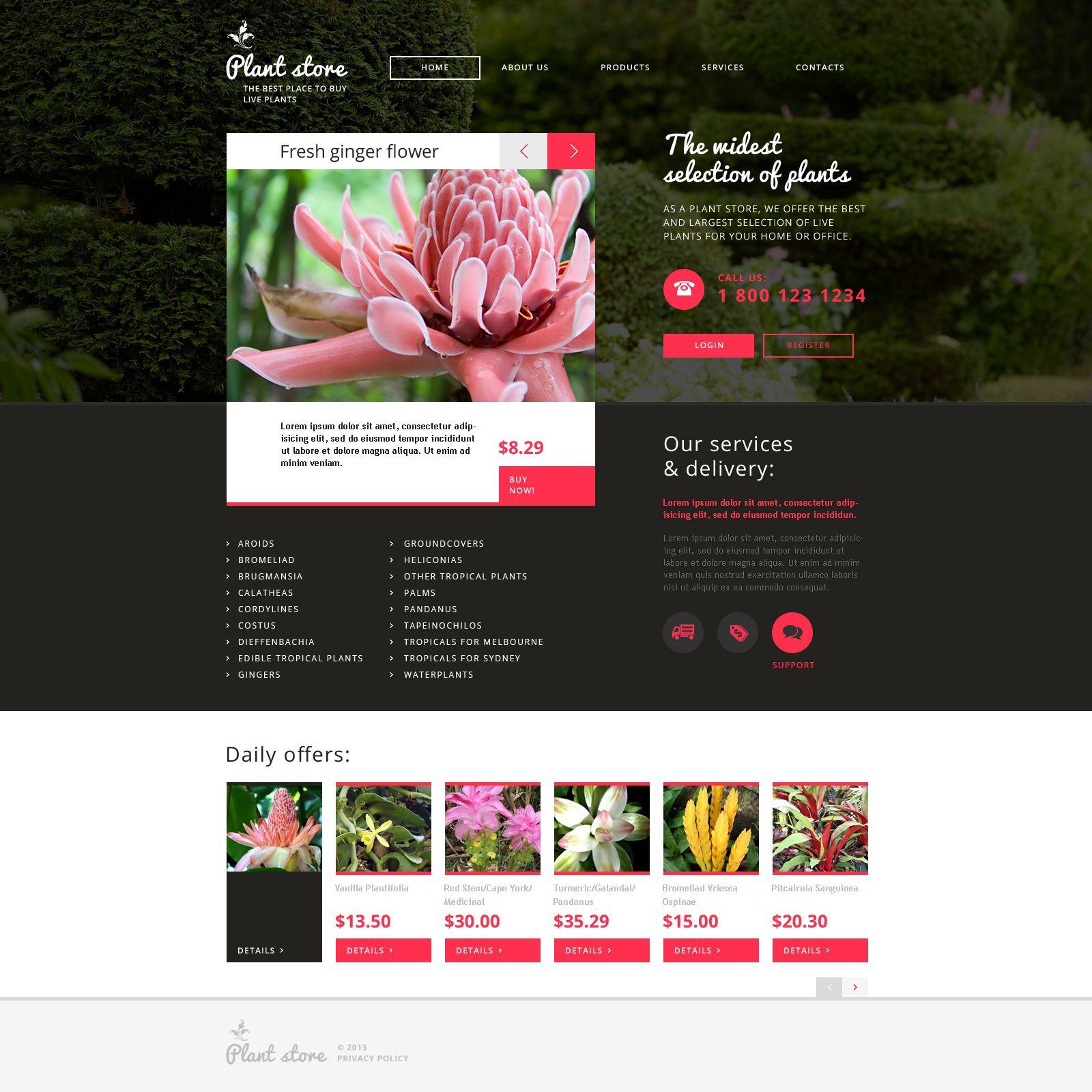 Flower Shop Responsive Website Template   Template, Website and ...