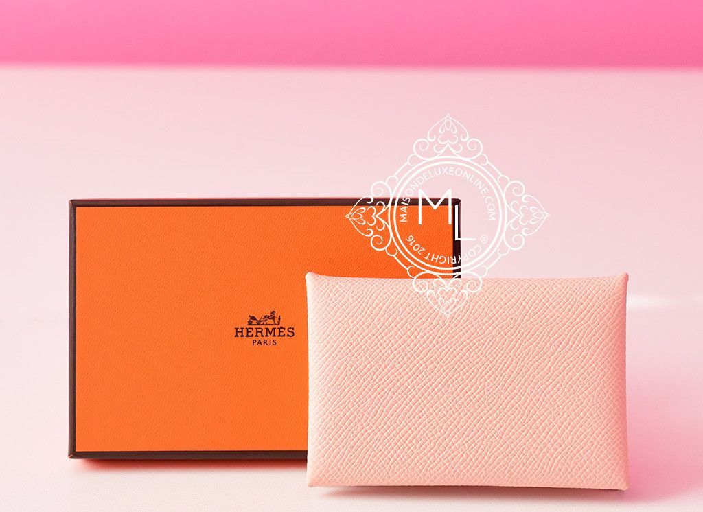 Hermes Rose Eelantine Pink Epsom Calvi Card Case Holder - New | Card ...