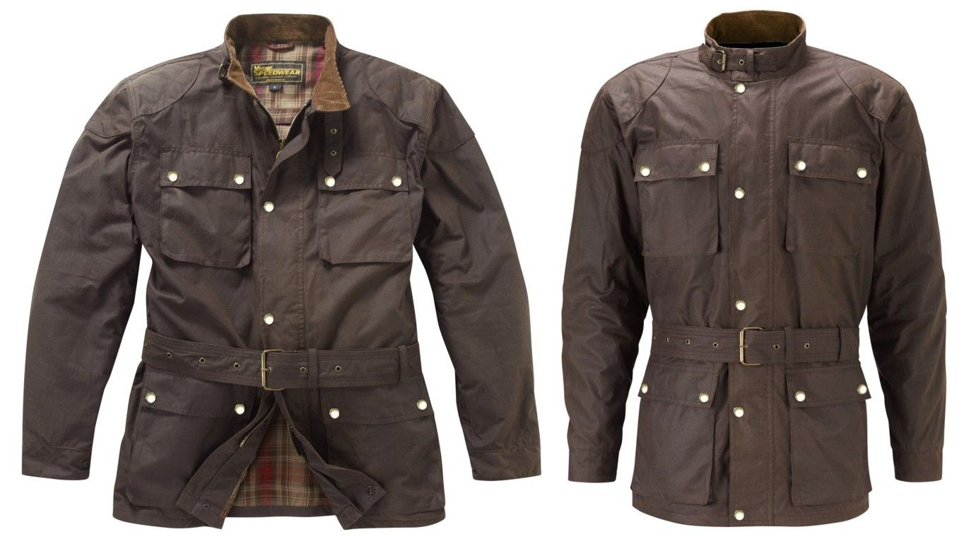 Brown Continental wax cotton motorcycle jacket Classic brown ...