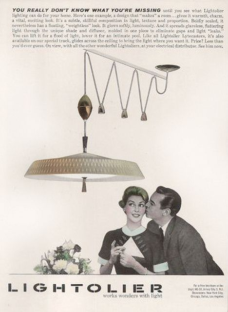Lightolier Lamp Light Print Ad Pull Down Dining Room Lamp Black And White  Catalogue Magazine