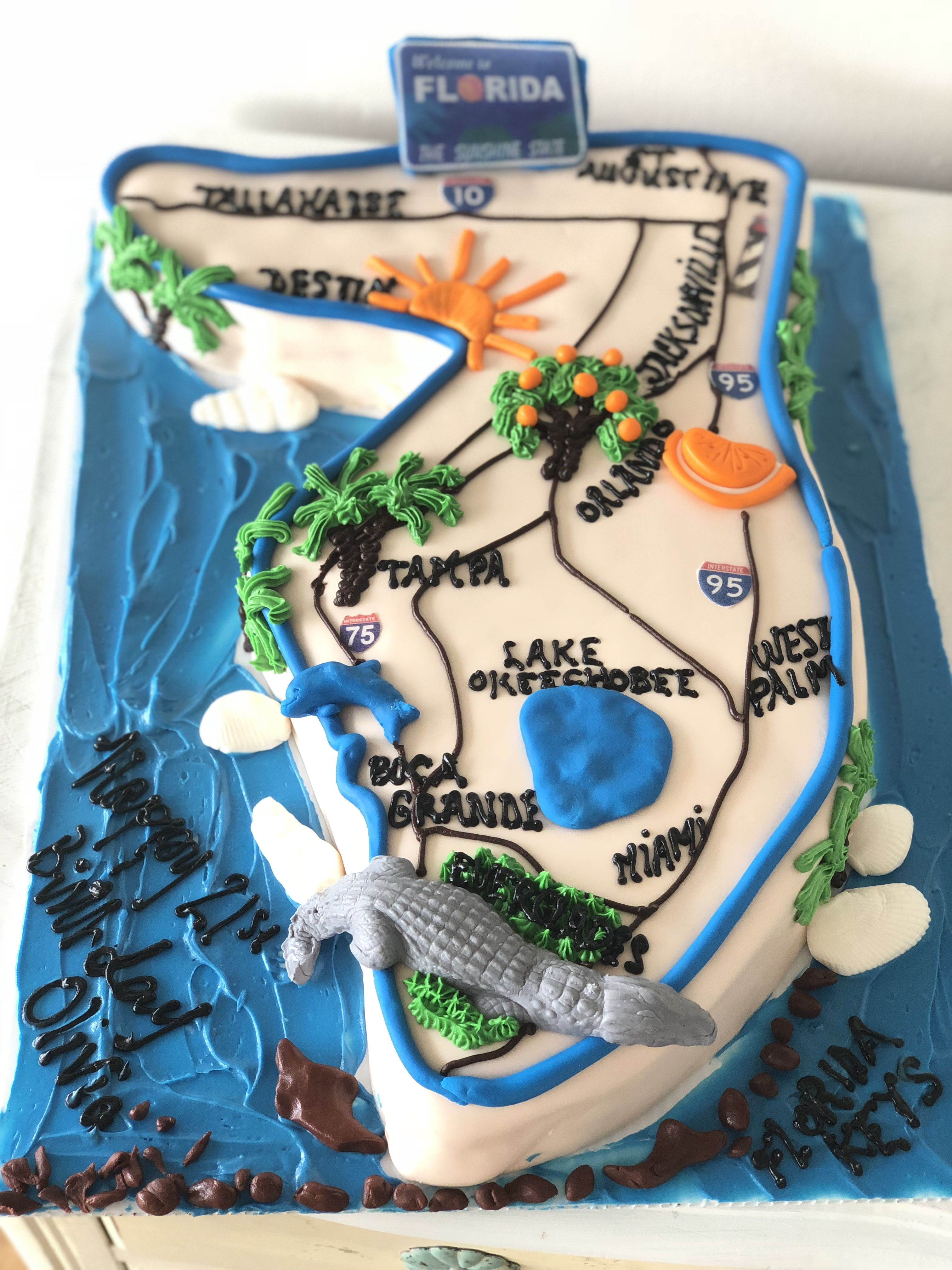 State of Florida birthday cake | Birthday | Wedding cake bakery ...