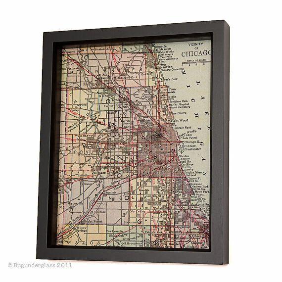 Framed Map of Chicago from 1880's by BugUnderGlass on Etsy, $25.00