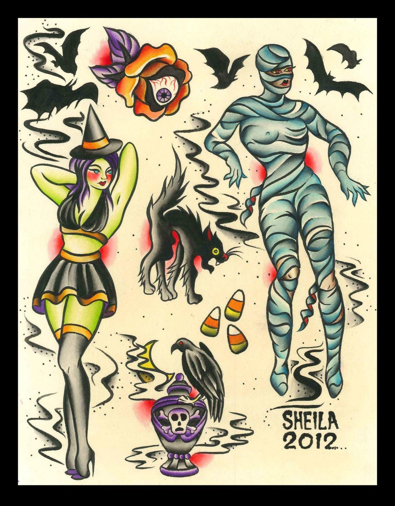 6a2bea980b167 Halloween sheet 2 | tattoos | Halloween tattoo flash, Tattoo flash ...