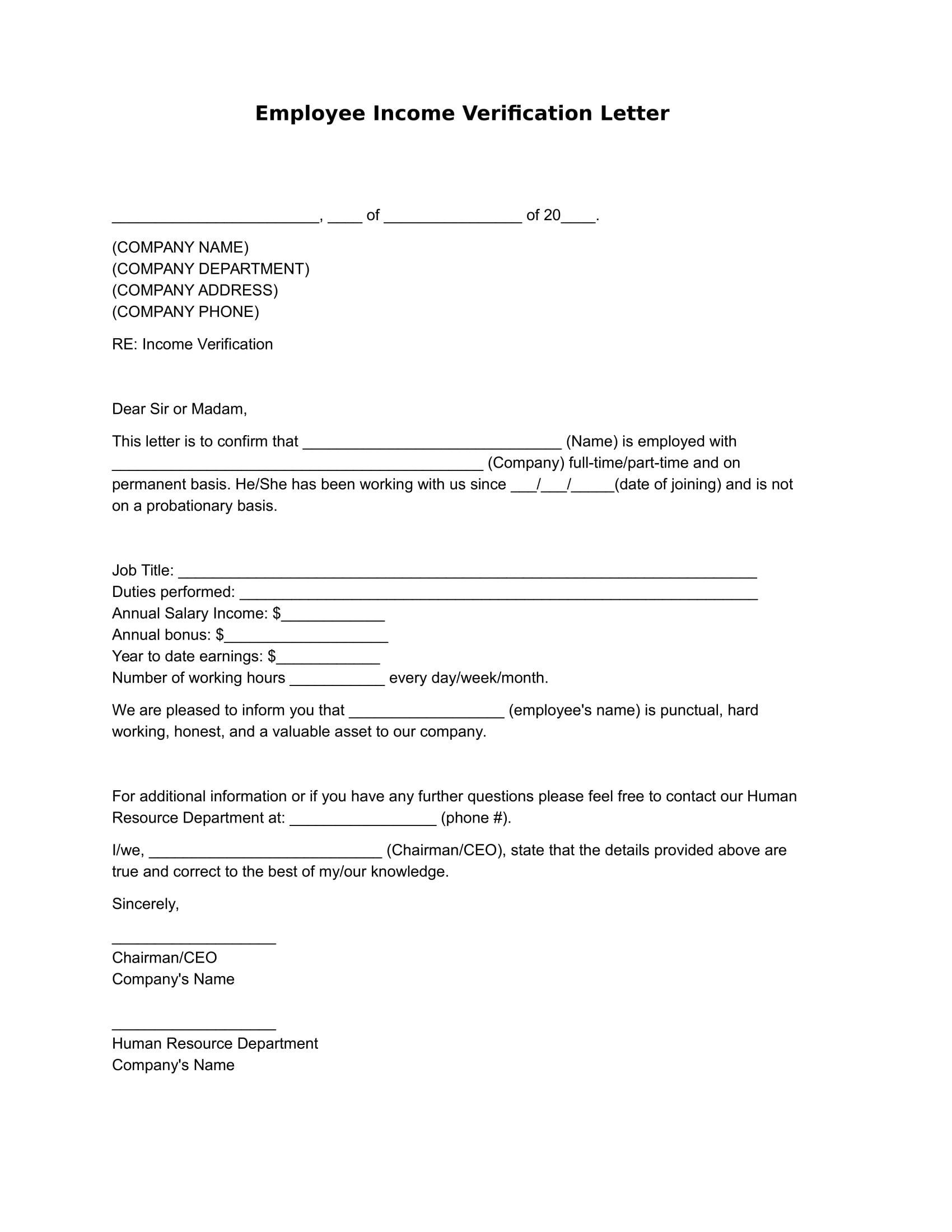 Employment Verification Letter Pdf How to Write A Letter