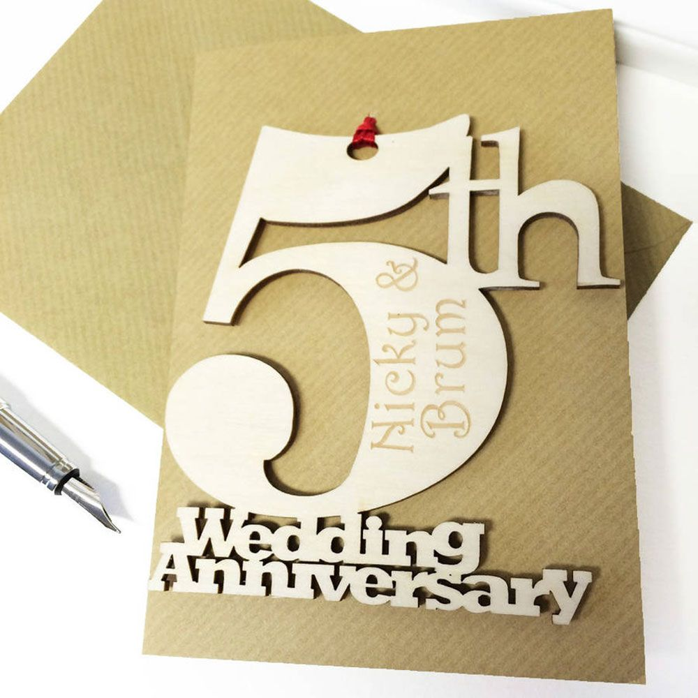 Greeting Card Appealing Personalised 5th Wedding Anniversary Card – Anniversary Card Template