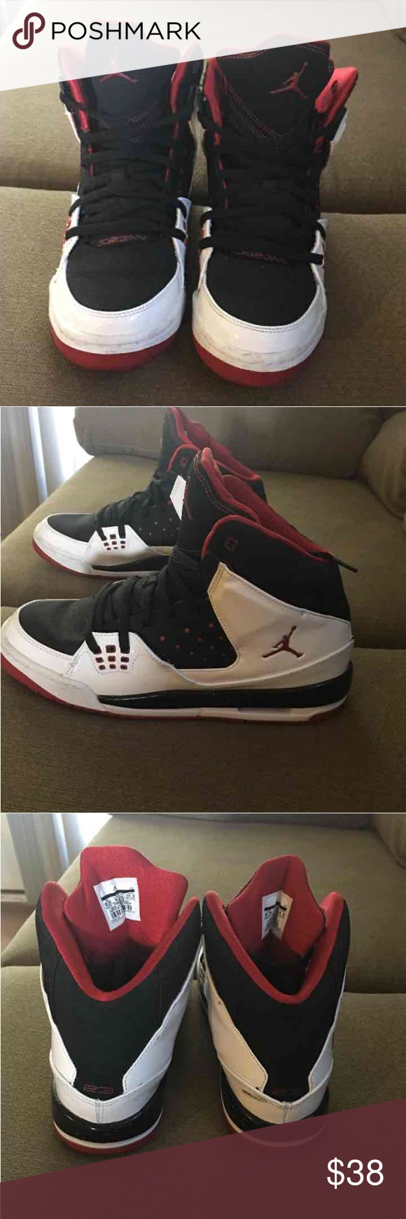 Jordans Bought for my son but he doesn't like them. So I'm selling. Lightly used still in great condition. One of them has a scuff (pictured) I'll try and get it off, they'll be cleaned regardless before I sell! Grade school boys size 6.5 Jordans Shoes Sneakers
