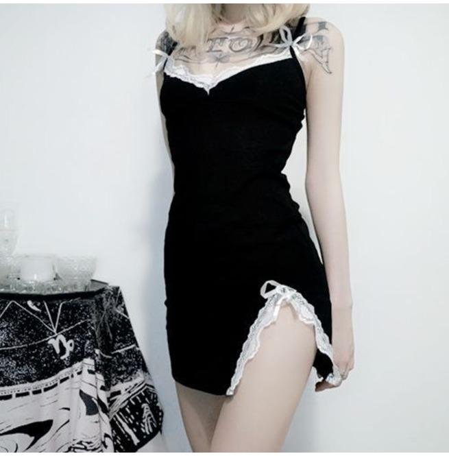 Women's Goth Lace Slit Slip Dress