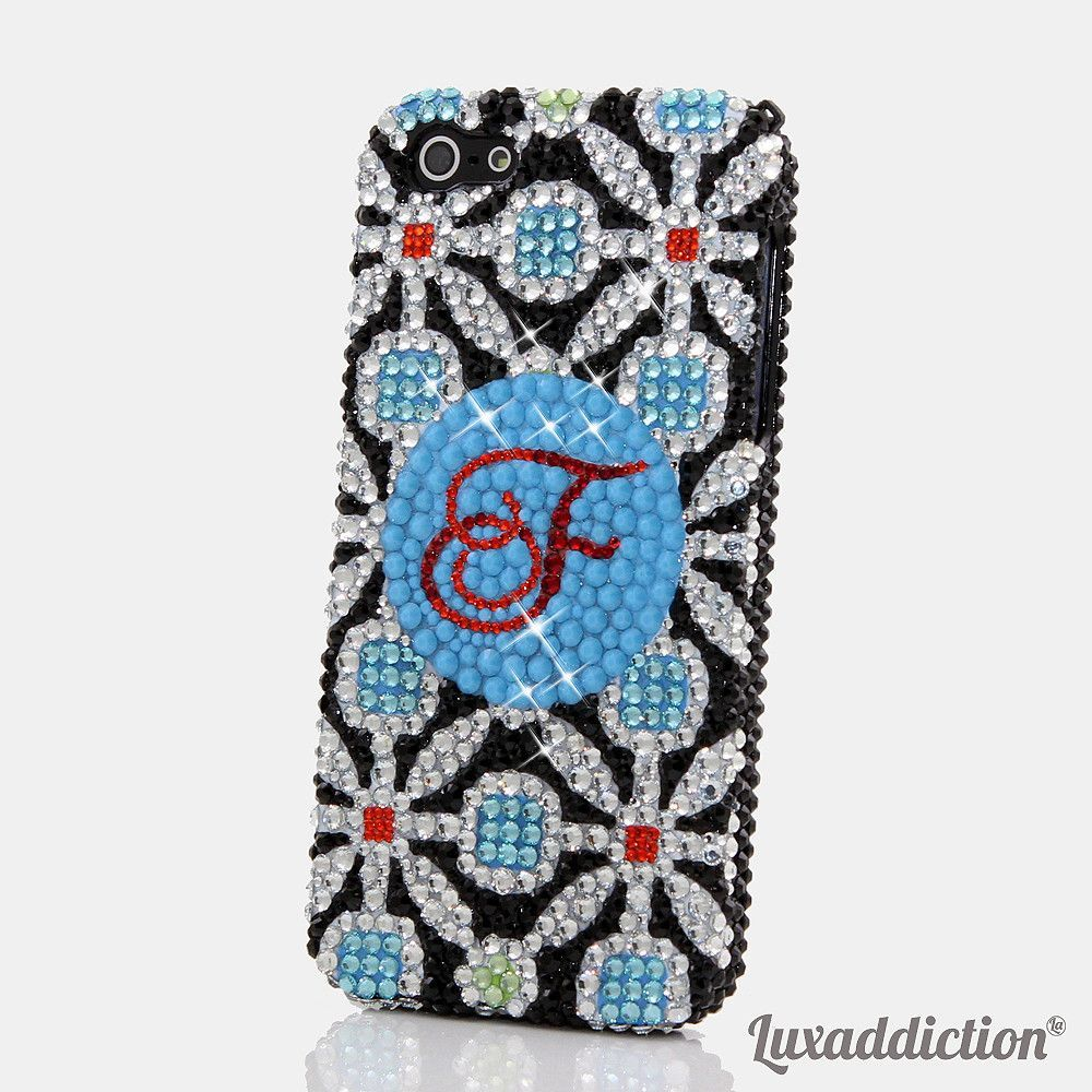 Powder Blue Floral Personalized Monogram Design (style MO_2007)