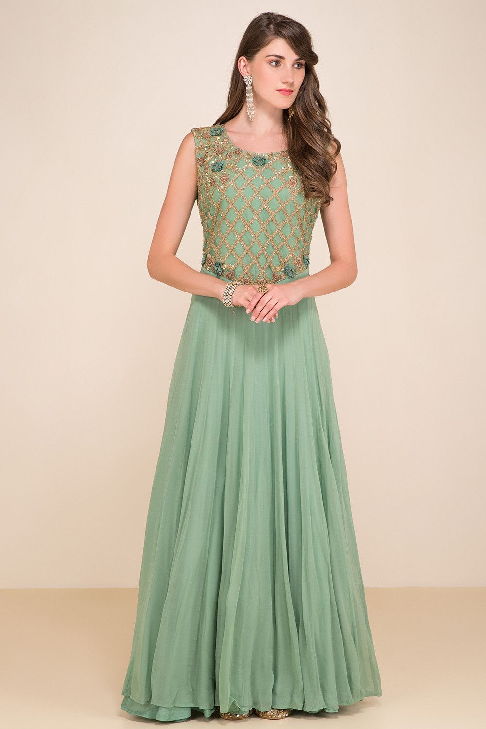 f12ff37473d3f HOUSE OF OMBRE Olive Green Embroidered Gown | dress | Reception gown ...