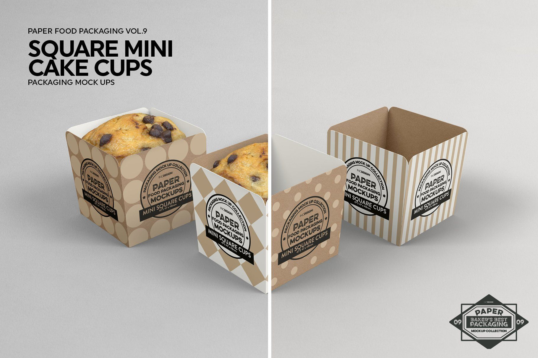 Download Square Cake Cups Packaging Mockup Square Cakes Food Box Packaging Packaging Mockup