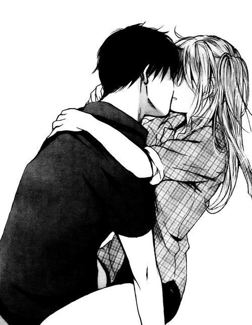 Passionate Lovers Kissing Anime Couple In Black And White