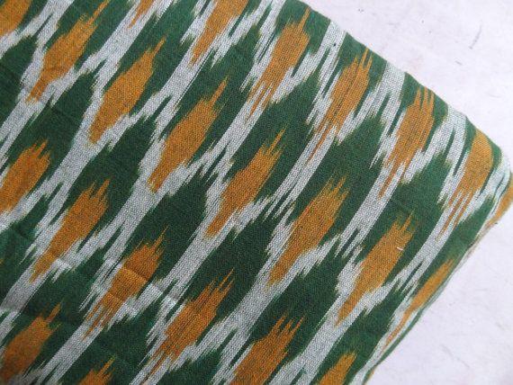 Green Ikat Fabric Cotton Fabric Womens Clothing Handwoven