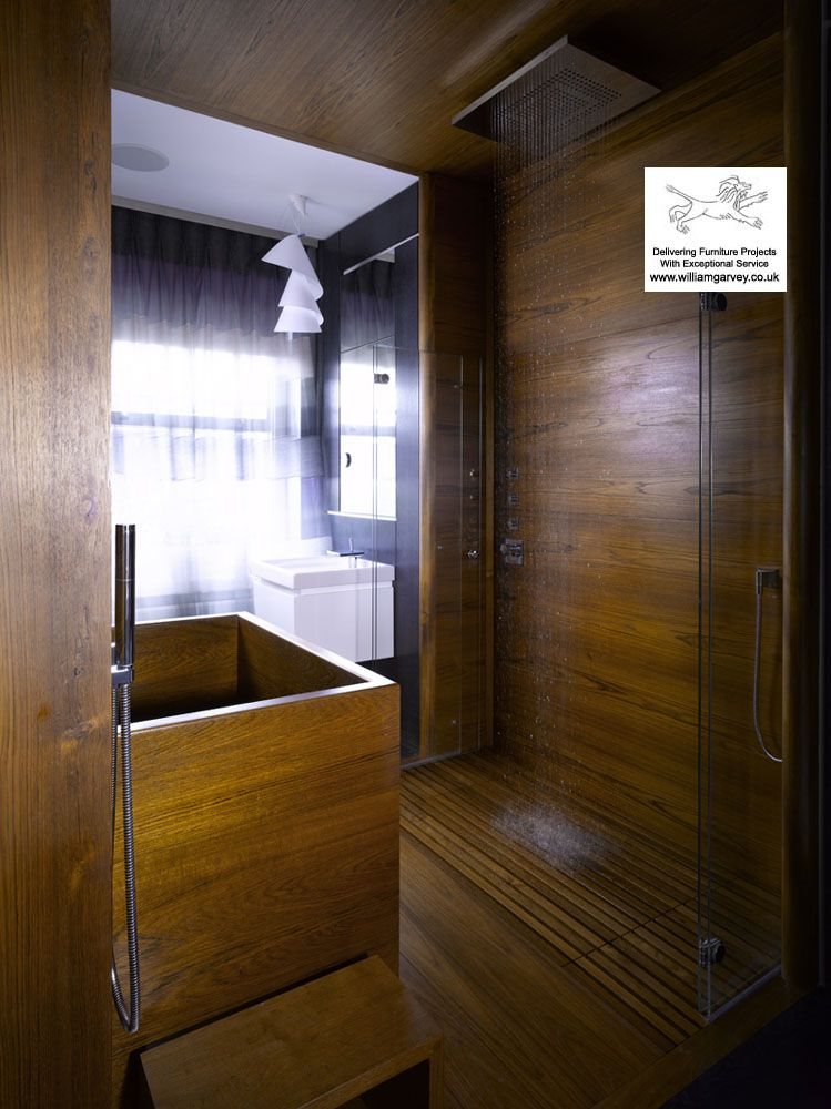 Teak shower \'tiles come in plank size and are 100% waterproof in ...