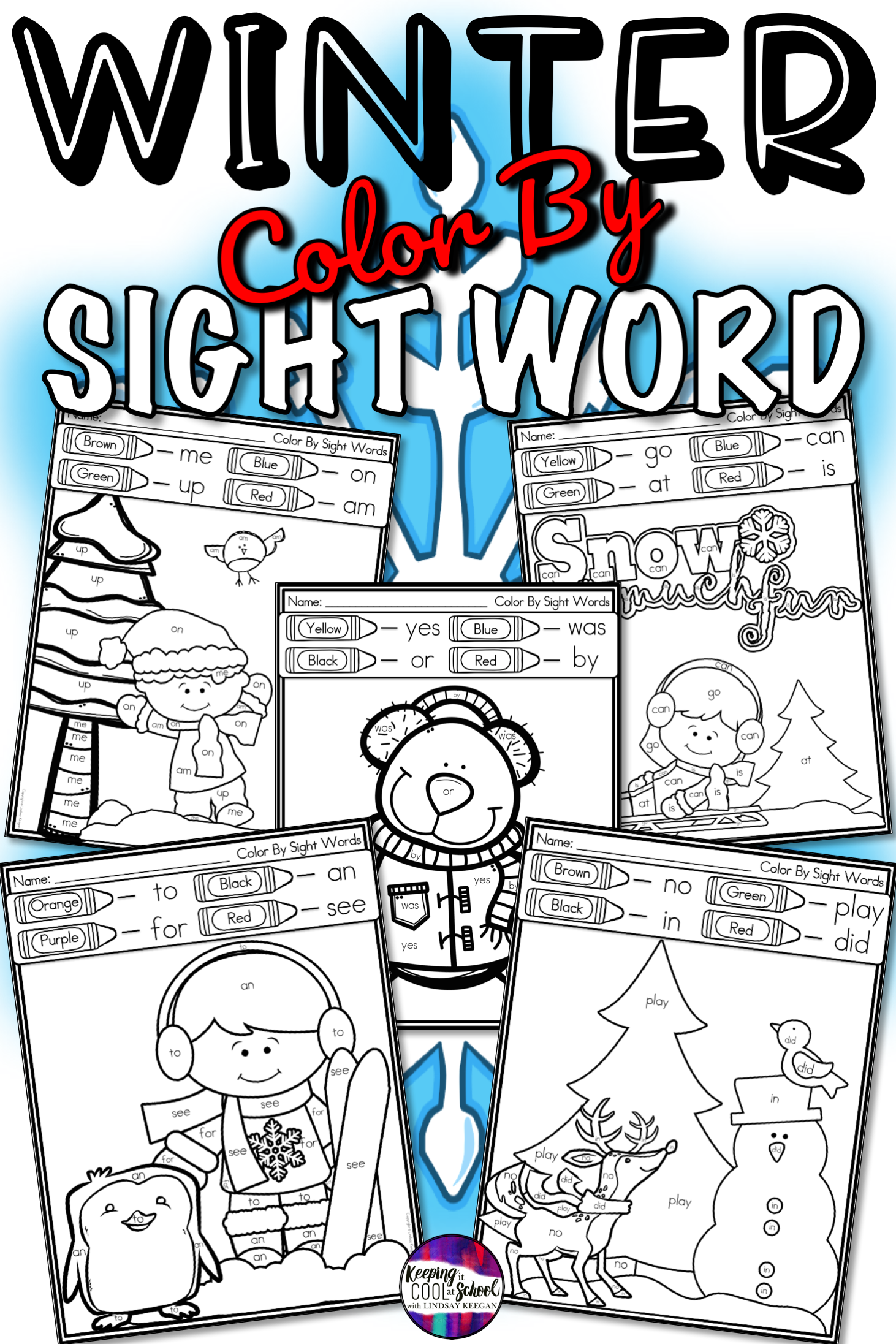 Color By Sight Word Winter Worksheets With Images