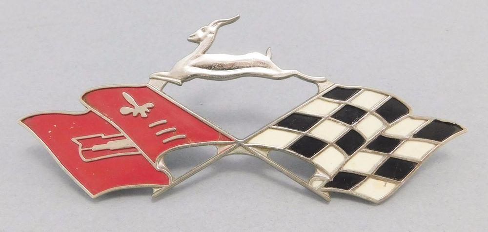Vintage 1958 Chevrolet Chevy Impala Crossed Flag Badge Quarter Panel Emblem Chevrolet Antique Mall Chevy Impala Cross Flag