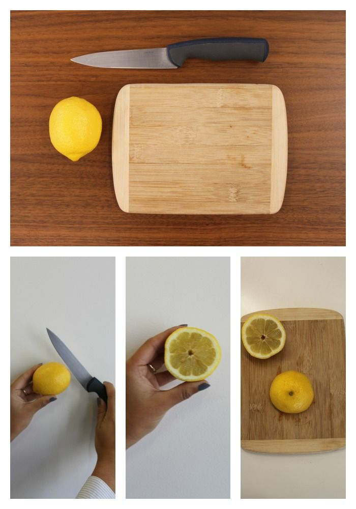 Prevent and remove tough food stains from your cutting boards using this easy 5-step simple solution. Step 1: Gather cutting board, a lemon and a knife. Step 2: Slice lemon in half. Step 3: Using the flat face of the lemon, rub fruit juice into the cutting board. Step 4: Allow juices to set in for about 10 minutes. Step 5: Wash and use cutting board normally, without worrying about dirty food stains. #paypalit