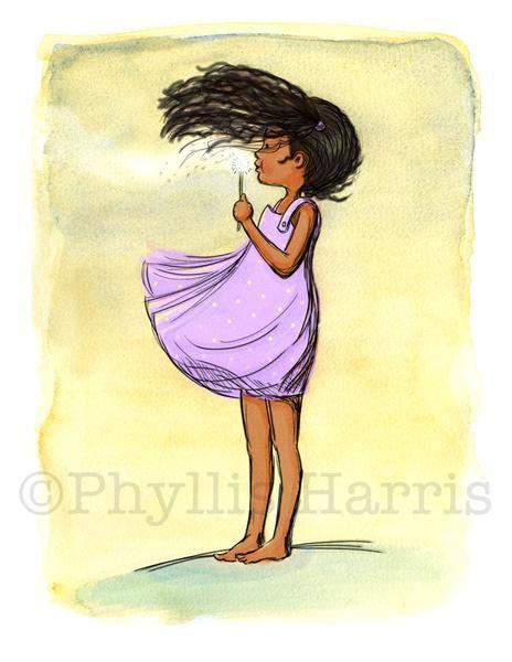 African American Dandelion Girl Wall Art - Purple or Lavender ...