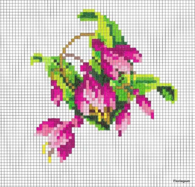 Berlin Woolwork Needlepoint Chart Fuchsia Cross Stitch Embroidery Miniature Embroidery Cross Stitch Flowers