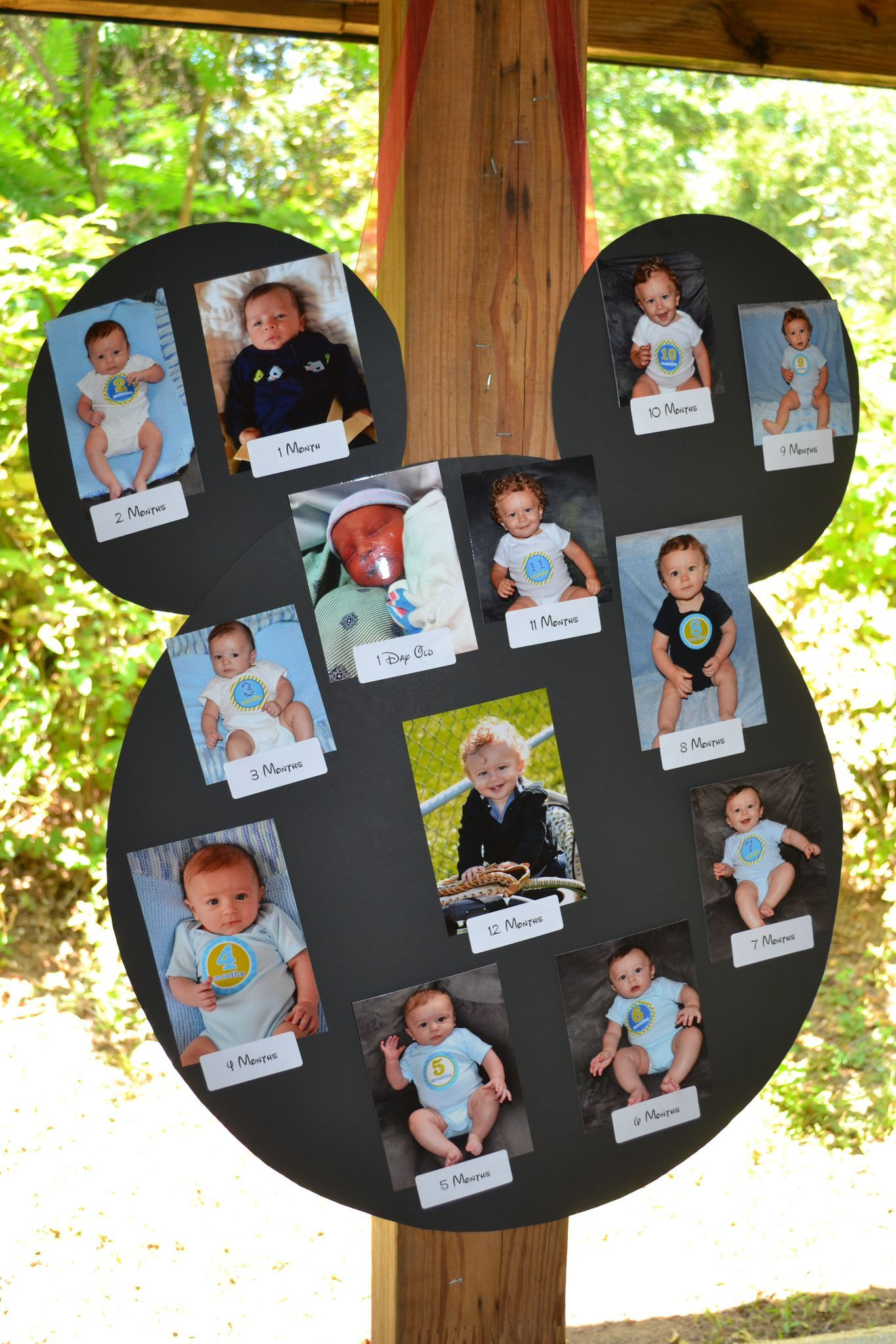 1st Birthday Mickey Mouse 12 month photo collage decoration idea