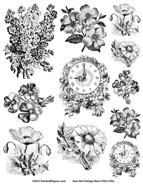 VICTORIAN FLOWERS BOTANICALS Clocks Line Art Illustrations Digital Collage Sheet For Mixed Media And Steampunk Jpeg Png Files CS13 195a
