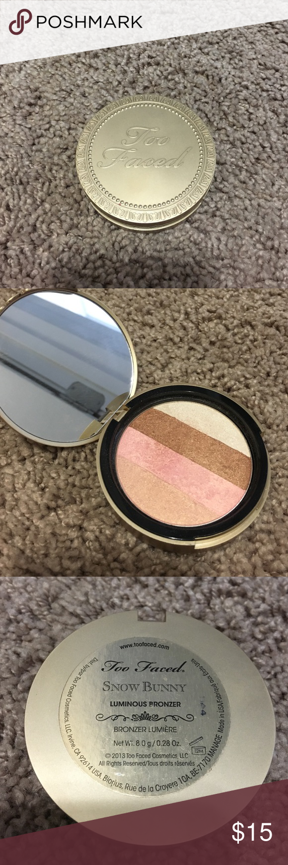 Too faced Snow Bunny Bronzer Only used a handful of times. Still has a lot of product left. Authentic. Does not come with packaging. Too Faced Makeup Bronzer
