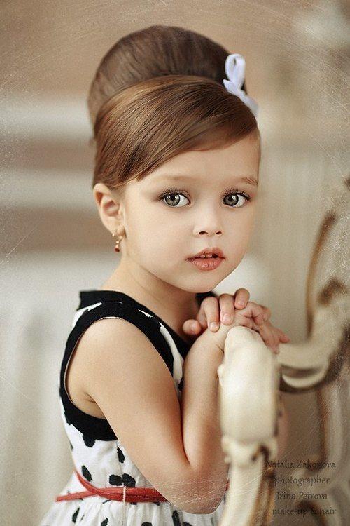 Audrey Hepburn inspired flower girl hairdo. | Adorable Babies ...
