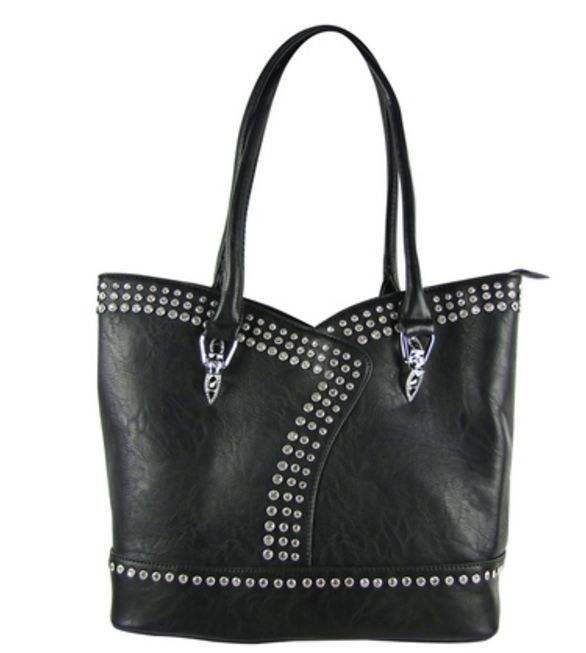 BLACK STUDDED RHINESTONE LOOK SHOULDER HANDBAG
