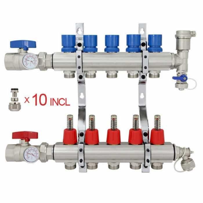 5 Branch Stainless Steel Pex Heating Manifold W 1 2 Pex Adapters Radiant Heat Pex Tubing Pex Plumbing