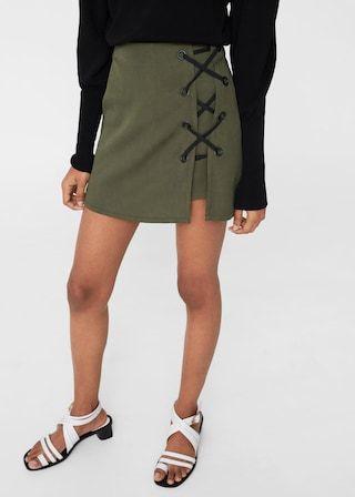 Mujer Mango Faldas De España Tiras Decorativas Pantalón Falda 47Xqaq