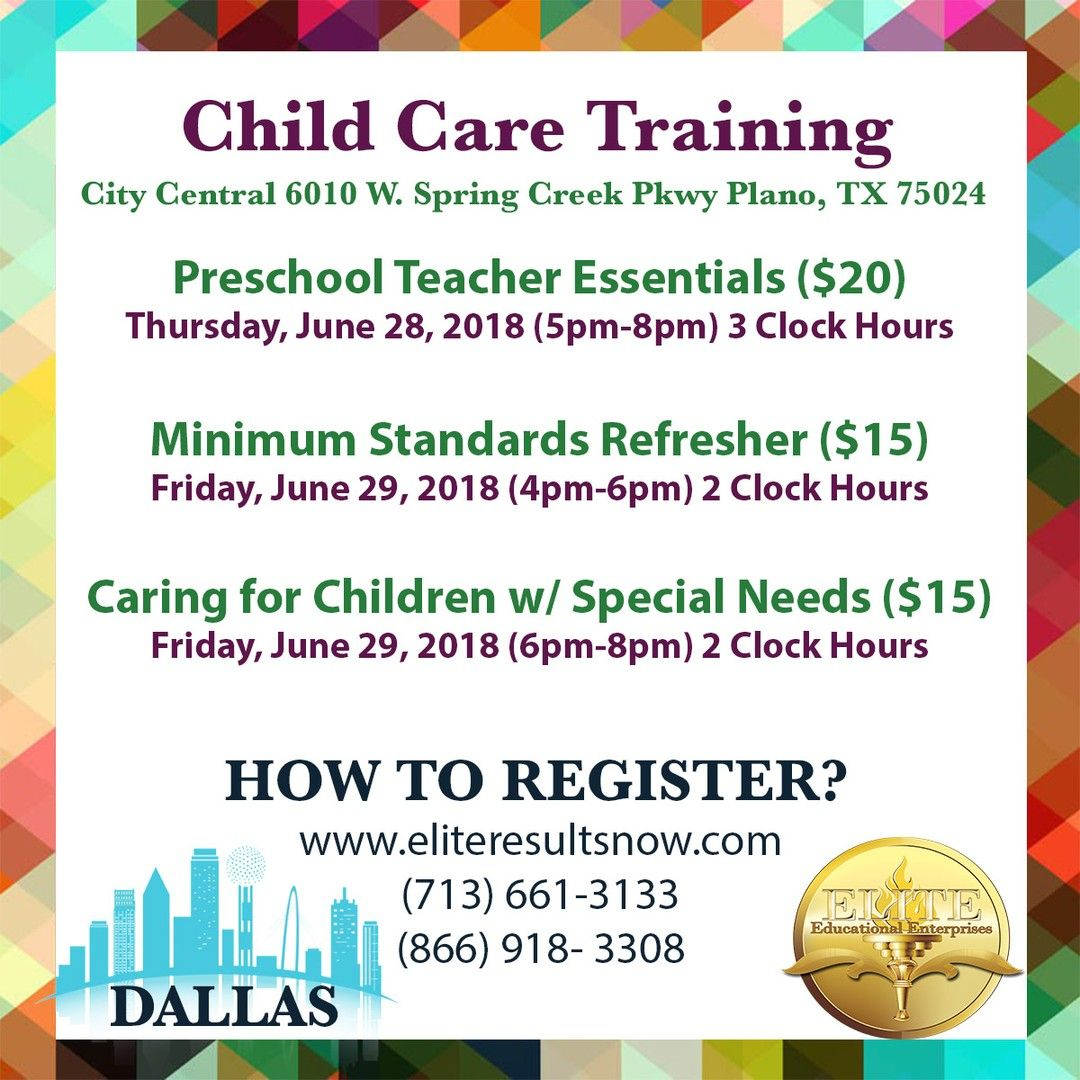 ATTENTION DALLAS, TEXAS Child Care Providers! Join Us For