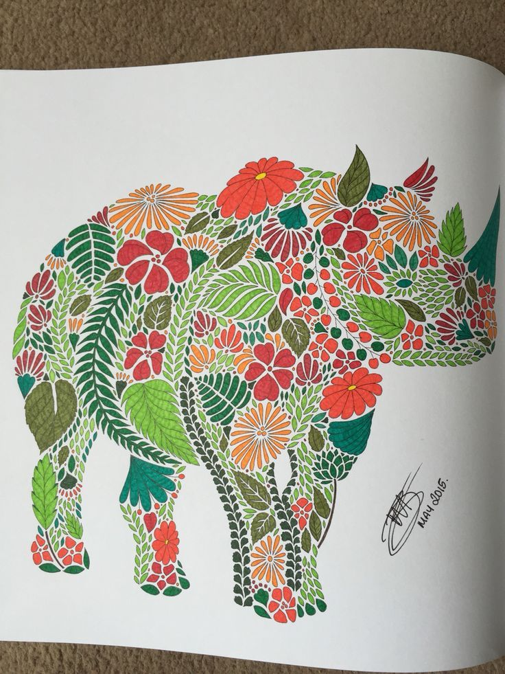 Image Result For Animal Kingdom Coloring Book Elephant Finished