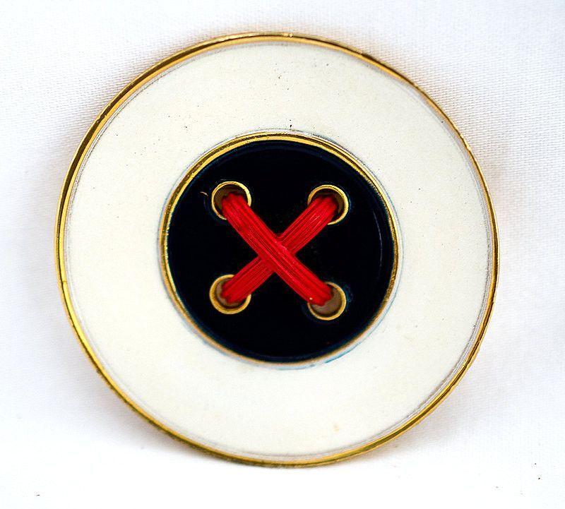 Large Enamel Button Brooch