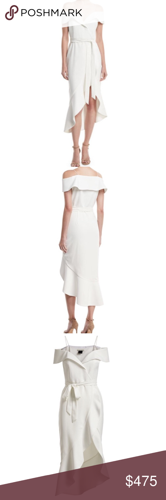 "2548aac4302 Alice + Olivia Josie Off Shoulder Wrap Dress From Alice   Olivia  ""The Josie  off-the-shoulder white wrap dress is carefully tailored for an incredibly  ..."