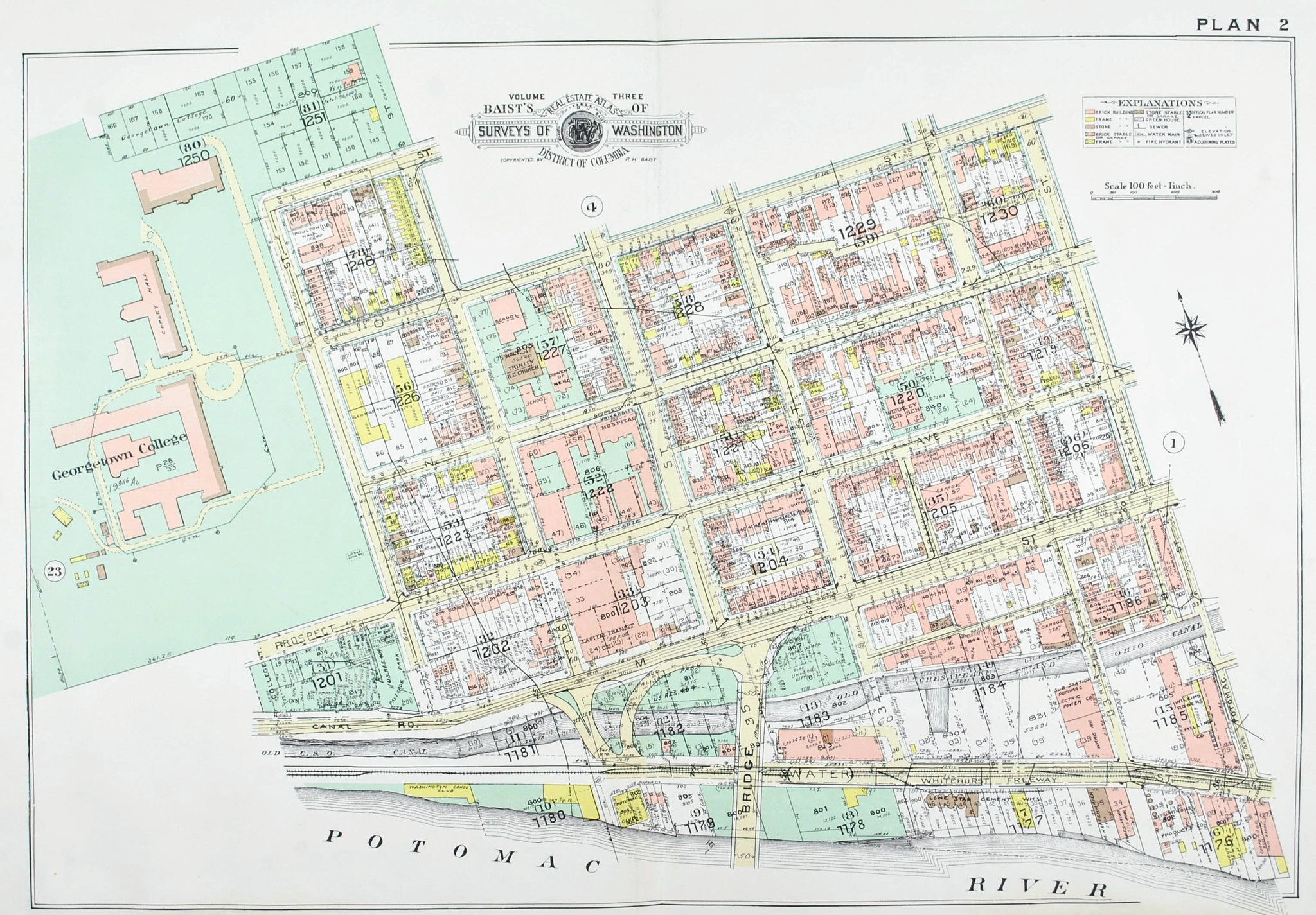 Washington DC Georgetown University Vintage Baist City Map 1960