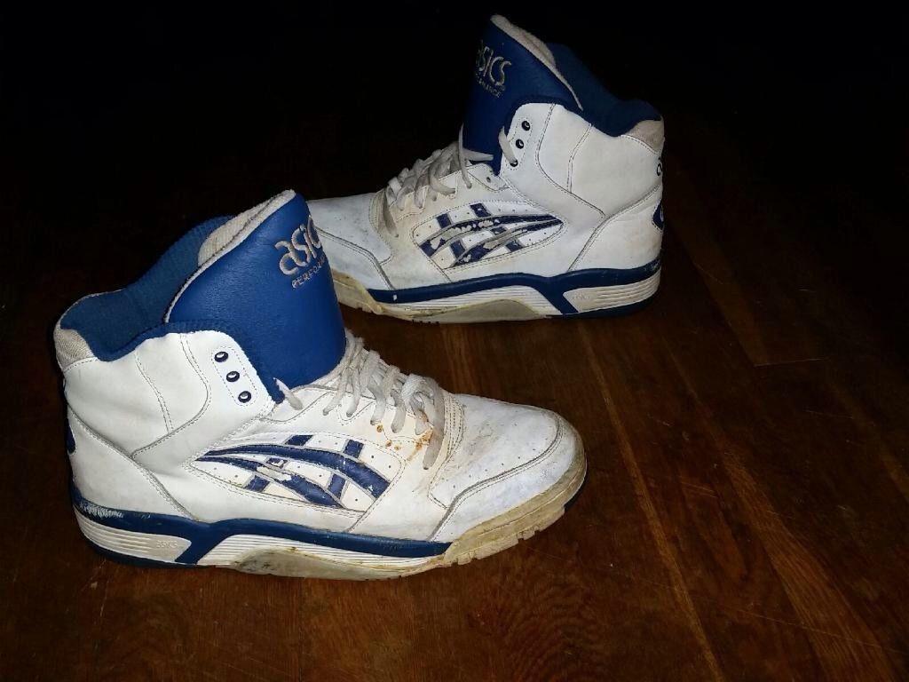 7bb3682d4fd25d 1980s Asics Gel High top sz 12 rage blue white vintage rare og ...