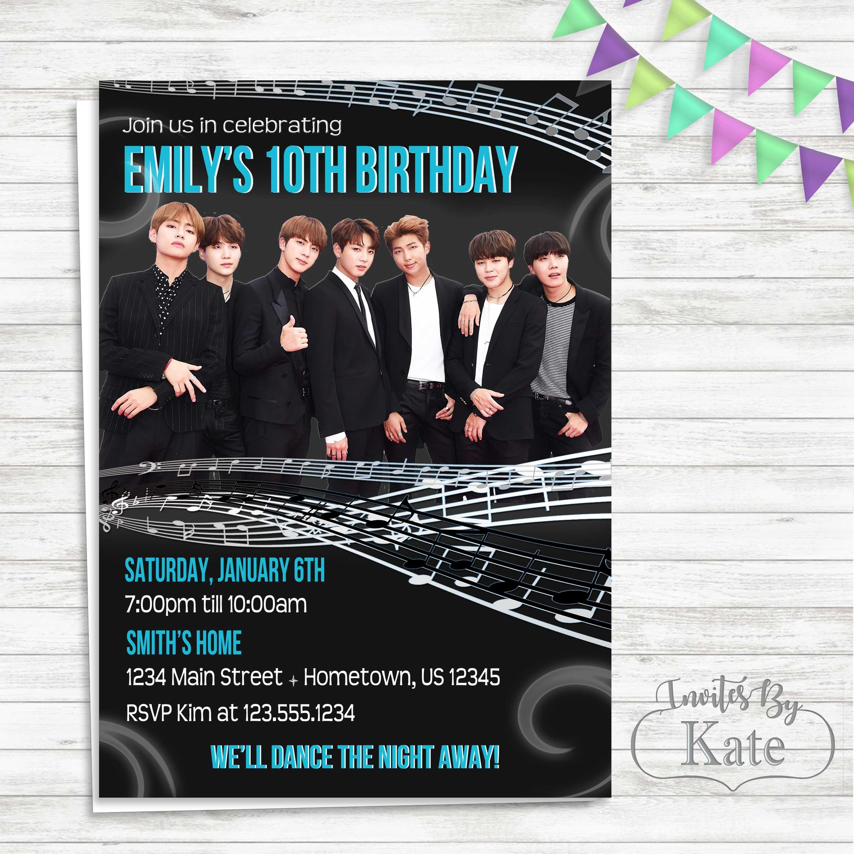 Bts K Pop Music Note Birthday Photo Invitation Birthday