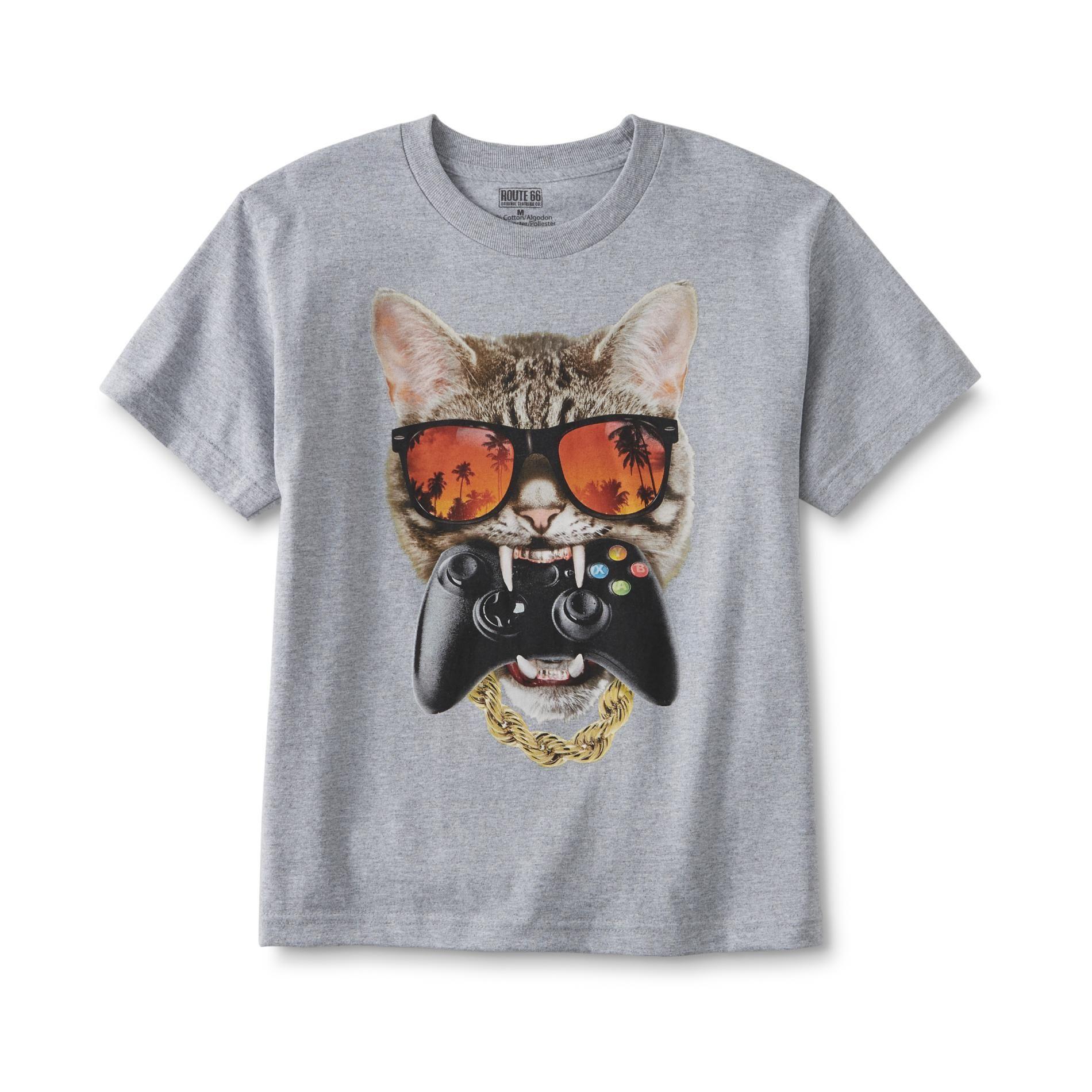Cat eating an Xbox controller tee Mens tops, Shirts tops