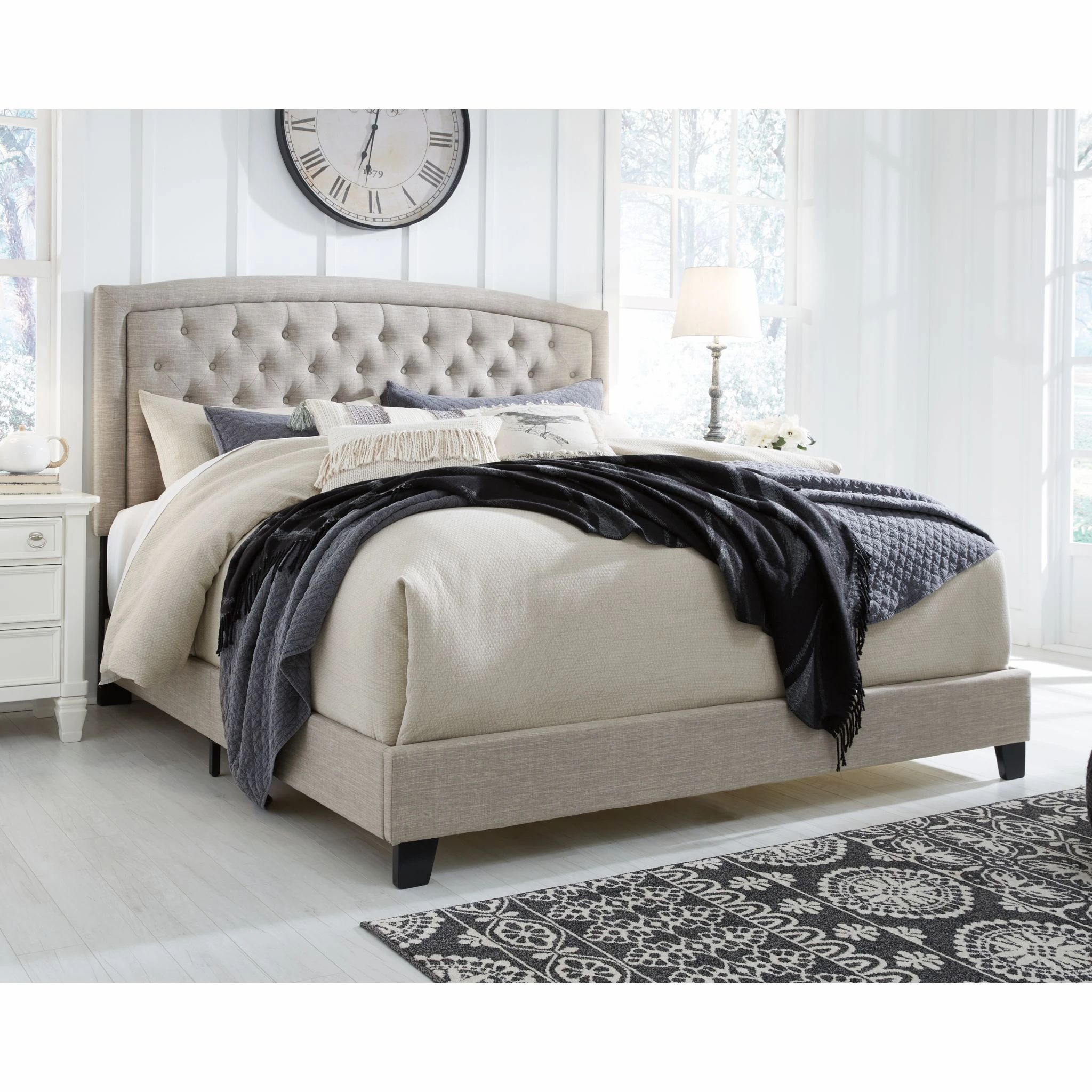 Jerary King Bed Gray in 2020 Queen upholstered bed