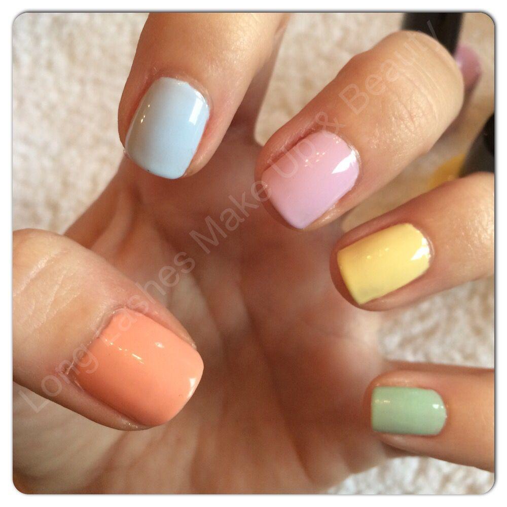 Pastel CND Shellac nails in Salmon Run, Creekside, Cake Pop, Sun ...
