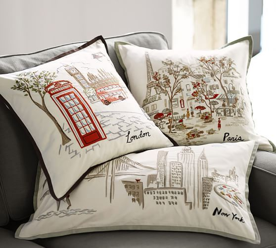 new york and san francisco embroidered pillow cover pottery barn