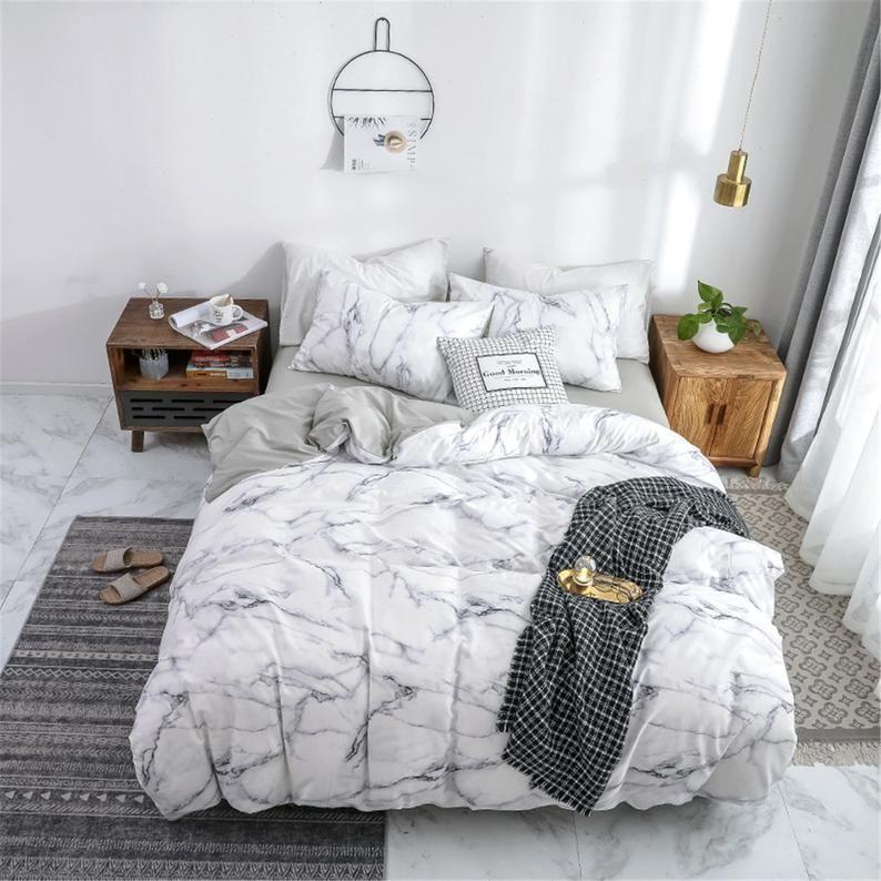 100 Cotton Duvet Cover Set Super Soft Bedding Set White Marble Bedding Sets Luxurious Bedding Duvet Cover Sets Bedding Set Marble Duvet Cover Marble Bedding Bed Comforter Sets