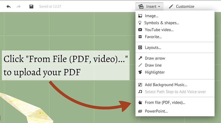Inserting Pdf And Excel Files Support Prezi Support Prezi Presentation Program Graphing