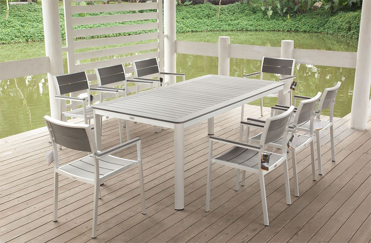 Outdoor Furniture Settings Part - 16: Outdoor Furniture Setting 9 Piece Weatherproof PolyWood Aluminium Setting  New