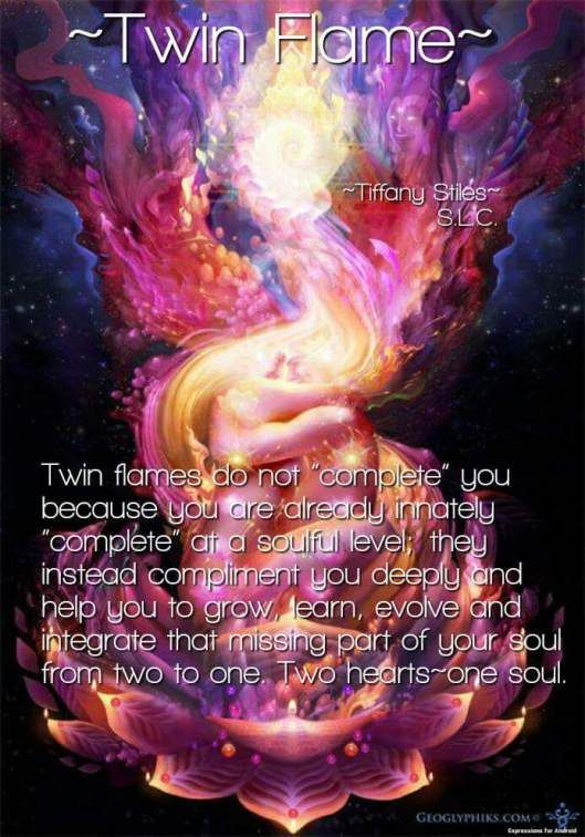 "QUOTE | Twin Flames do not ""complete"" you because you are already innately ""complete"" at a soulful level; they instead compliment you deeply and help you to grow, learn, evolve and integrate that missing part of your soul from two to one. Two hearts ~ one soul. -Tiffany Stiles"