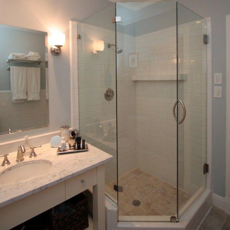 Ba os peque os con ducha 38 dise os de moda decoraci n - Fotos de banos muy pequenos con ducha ...