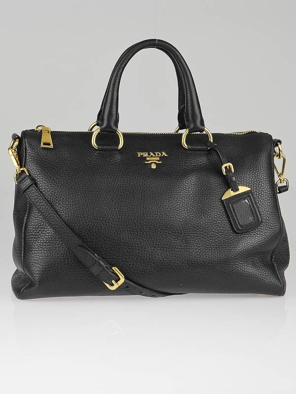 0a85579e1d Prada Black Vitello Daino Leather Bauletto Bag BL0778