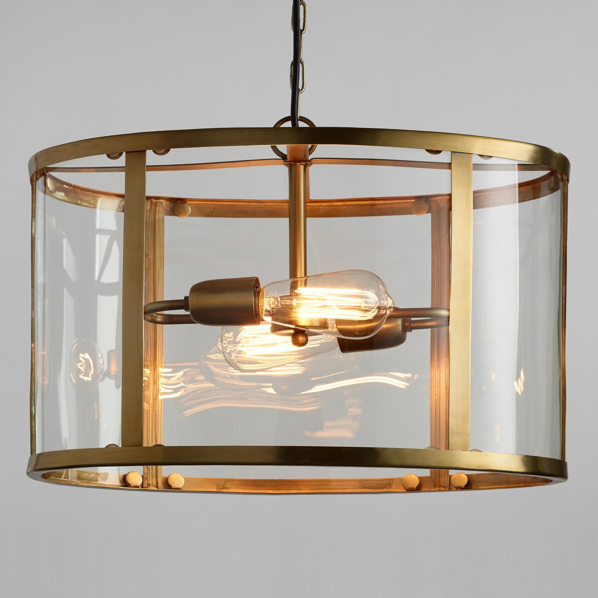Gl And Antique Br Oval 2 Light Chandelier By World