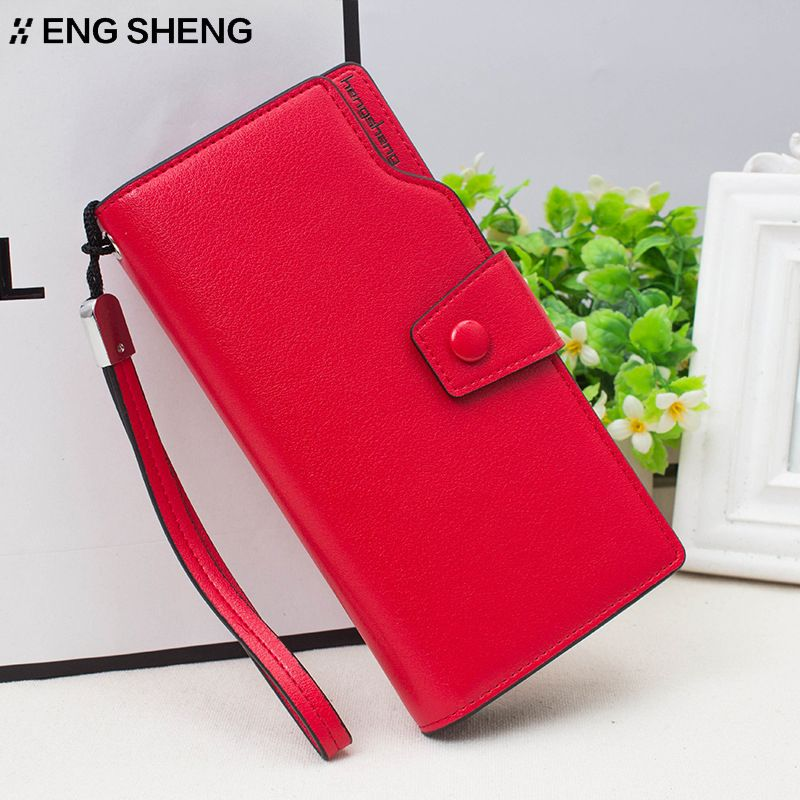 HENGSHENG brand female purse Hasp Coin Purses Red Leather Wallets ...